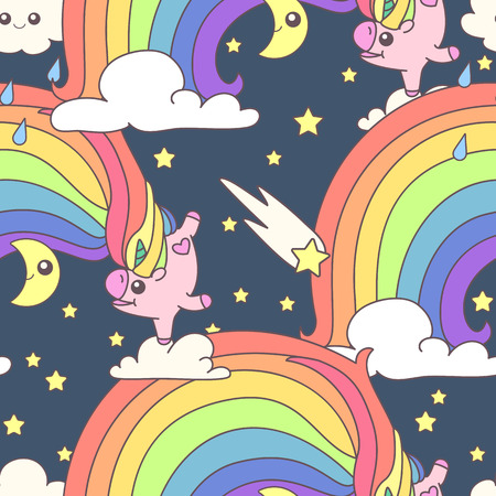 Vector cute seamless pattern. Colorful unicorns texture concept. 035 Illustration
