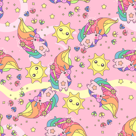 Vector cute seamless pattern. Colorful unicorns texture concept. 031
