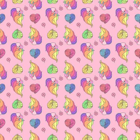 Vector schattig naadloze patroon. Kleurrijke eenhoorns textuur concept. 043 Stock Illustratie
