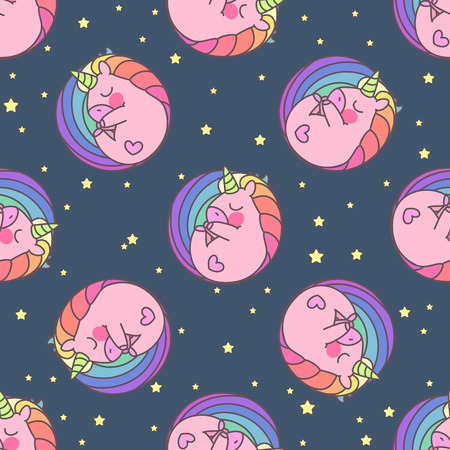 Vector cute seamless pattern. Colorful unicorns texture concept. 042