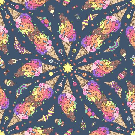 Vector schattig naadloos patroon. Kleurrijke eenhoorn textuur concept. 041