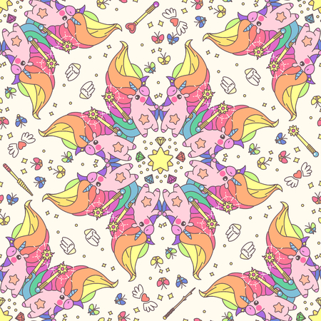 Vector cute seamless pattern. Colorful unicorns texture concept. 039 Vettoriali