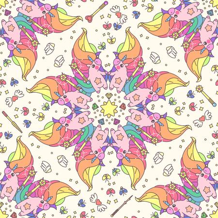 Vector cute seamless pattern. Colorful unicorns texture concept. 039 Illustration
