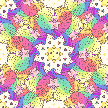 Vector cute seamless pattern. Colorful unicorns texture concept. 049 Illustration