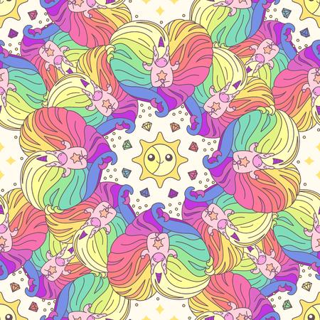 Vector cute seamless pattern. Colorful unicorns texture concept. 049 Illustration