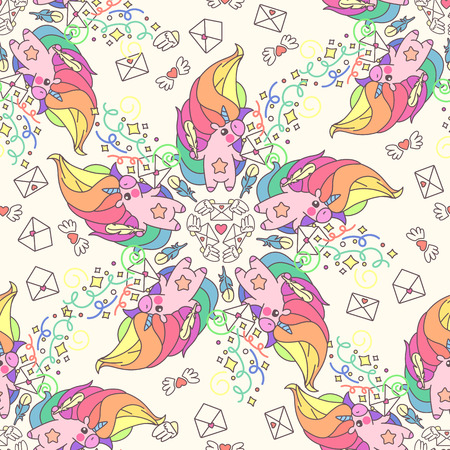 Vector cute seamless pattern. Colorful unicorns texture concept. 048