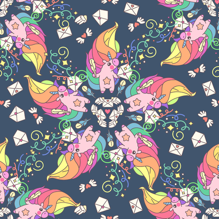 Vector cute seamless pattern. Colorful unicorns texture concept. 047