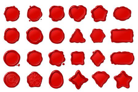 vector red vintage wax seal stamps set