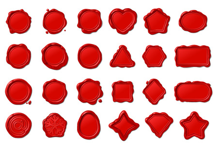 vector red vintage wax seal stamps set