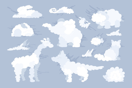 vector animal shaped cloud. Flat pastel set Çizim