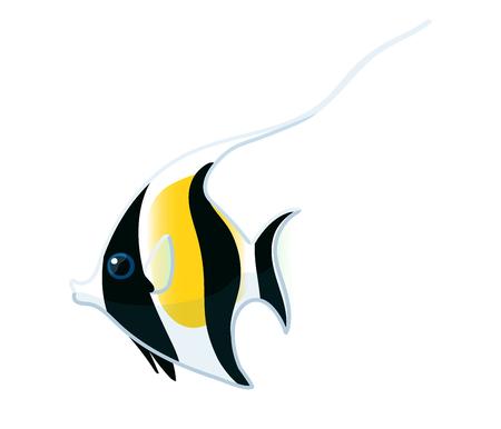 vector cartoon animal clipart: moorish idol fish