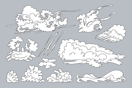 vector animal shaped cloud. Cartoon linear set