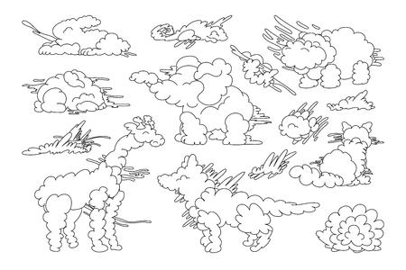 vector animal shaped cloud. Black white linear set Vector Illustration
