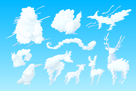 vector animal shaped cloud. Cartoon cloudy sky set