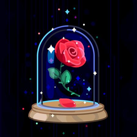 Vector Beauty and Beast vintage rose, dôme en verre
