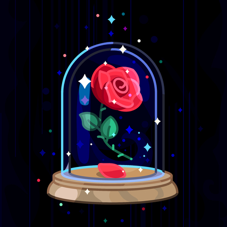 vector Beauty and Beast vintage rose, glass dome
