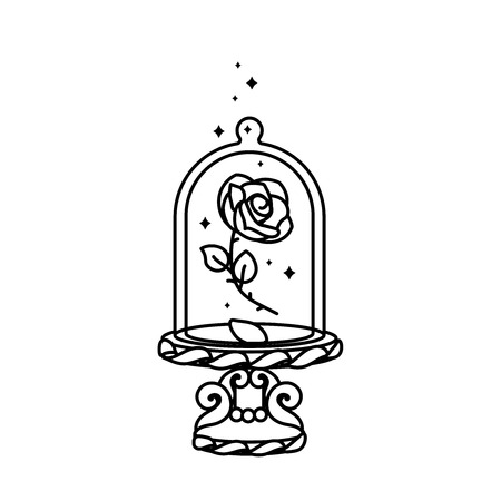 vector Beauty and Beast line rose, glass dome