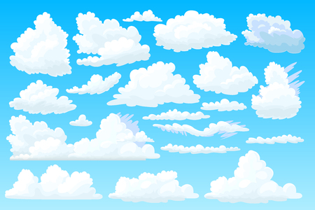 vector shaped fluffy cloud. Cartoon cloudy sky set  イラスト・ベクター素材