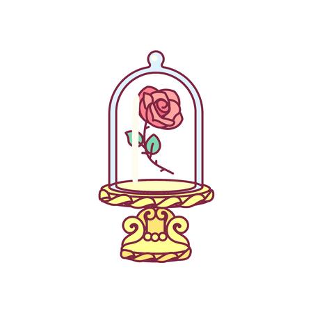 vettore La bella e la bestia vintage rosa, cupola di vetro