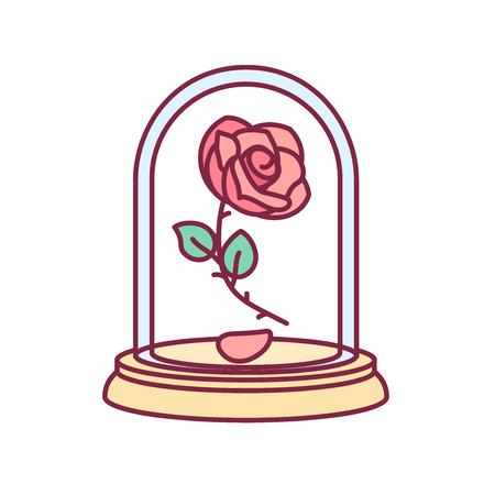 vector de la Bella y la Bestia rosa vintage, cúpula de cristal Ilustración de vector
