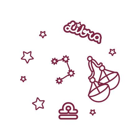 Vektorlinie Sternzeichen: Sternbild Waage Vektorgrafik