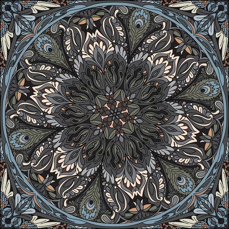 vector seamless pattern mandala: bandana, kerchief
