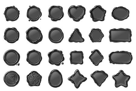 jeu de timbres de sceau de cire isolé vintage vector