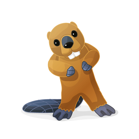 vector cartoon animal clipart: little beaver