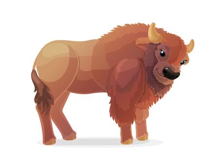 vector cartoon animal clipart: bison, buffalo