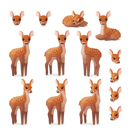 vector cartoon animal clipart: fawn Red deer set Illusztráció