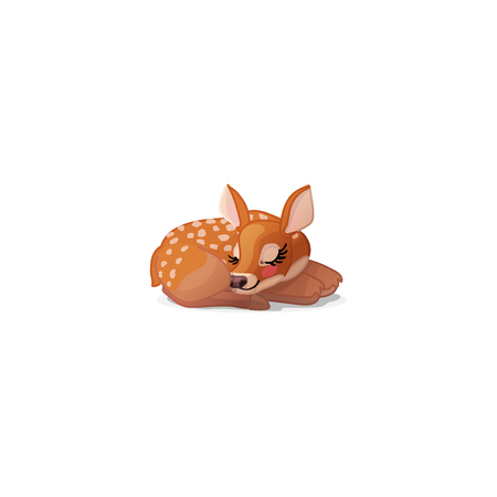 vector cartoon animal clipart: fawn Red deer set Vettoriali