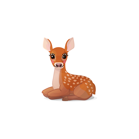 vector cartoon animal clipart: fawn Red deer set