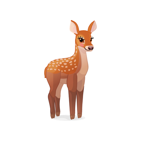 vector cartoon animal clipart: fawn Red deer set Illustration