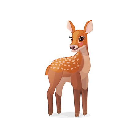 vector cartoon animal clipart: fawn Red deer set Illusztráció