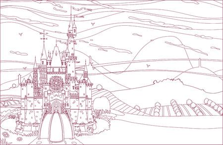 vector kingdom castle fortress coloring book page