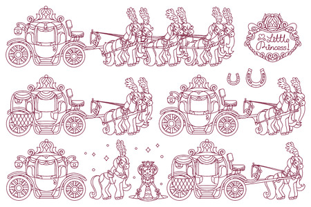 vector line Cinderella carriage for little queen Stock Illustratie