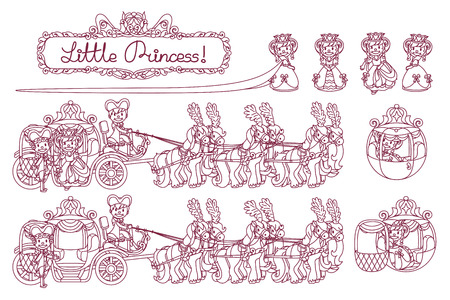 vector line Cinderella carriage for little queen Illustration