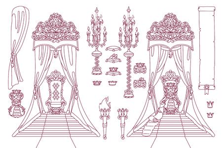 vector royal chair, princess throne art concept Illustration