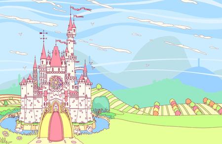 vector fairytale royal panoramic castle view art