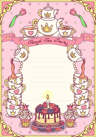 vector Royal tea party invitation template concept Иллюстрация