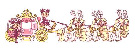 vector flat Cinderella carriage for little queen