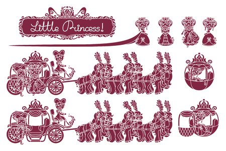 vector seamless pattern Little Princess paper art Ilustracja