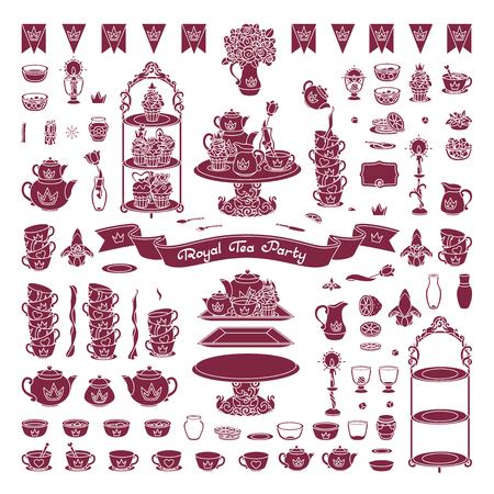 vector Royal dishes, tableware tea party concept Illustration