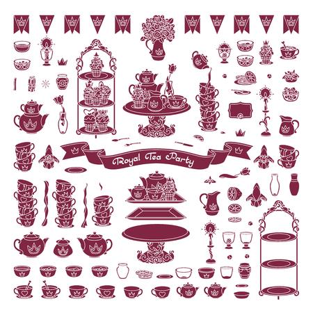vector Royal dishes, tableware tea party concept Vetores