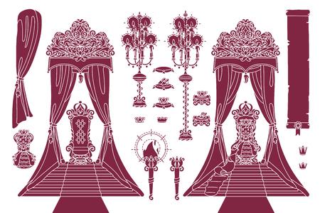 vector royal chair, princess throne royal concept