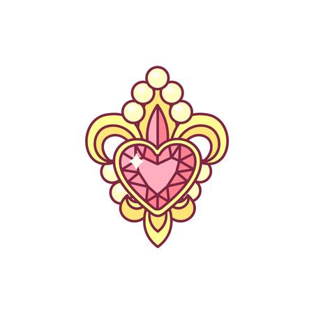 vector fleur de lis lys heraldic symbol with heart 向量圖像