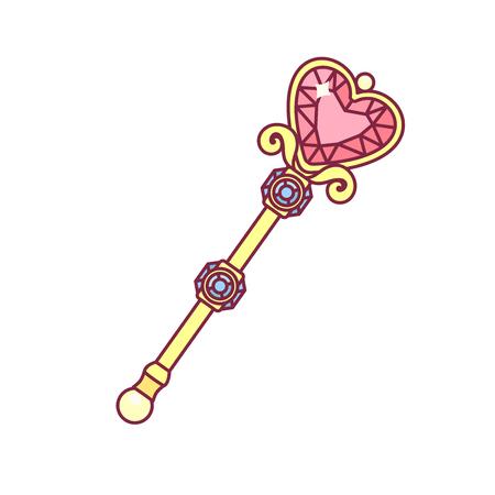 baguette magique de sceptre doré de vecteur pour princesse