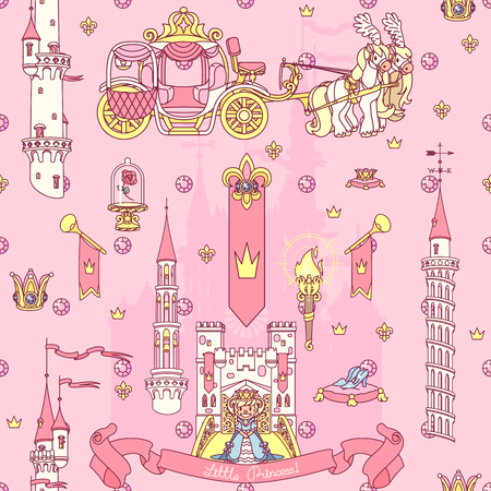 Vector seamless pattern arte di carta Little Princess Vettoriali