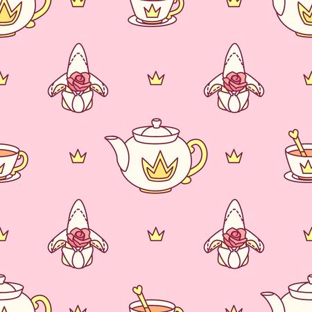 vector seamless pattern Little Princess paper art