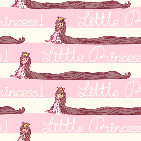 vector seamless pattern Little Princess paper art Stock Illustratie